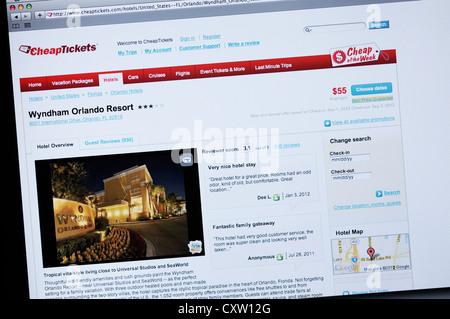Günstige Tickets Homepage - Online-Rabatt-Tickets, Flüge, Hotels, Mietwagen - Stockfoto
