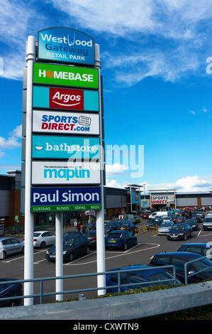 Die Westwood-Gateway Retail Park am Stadtrand von Broadstairs in Kent. - Stockfoto