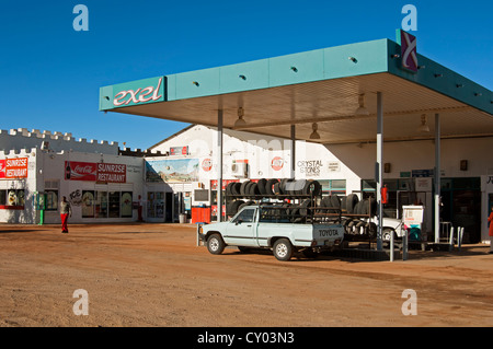 Exel-Tankstelle am nationalen Straße N7 in Steinkopf, Provinz Northern Cape, Südafrika, Afrika - Stockfoto