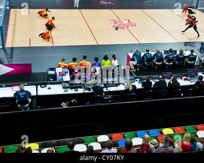 Ziel ball Match zwischen Chinesischen und kanadische Männer in Kupfer an der Paralympischen Spiele 2012 in London - Stockfoto