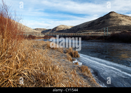 Eis, schwimmende am Rande des Yakima River unterhalb Umtanum Creek Trail Hängebrücke, Yakima, Washington, USA - Stockfoto