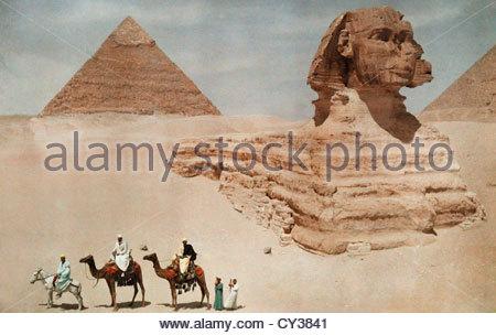 Die große Sphinx und die Sekunde oder Chephren, Pyramide. - Stockfoto