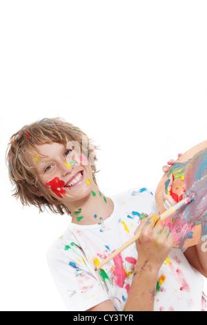 glückliche Kinder malen mit Farbe spielen Stockfoto, Bild: 53764570 ...