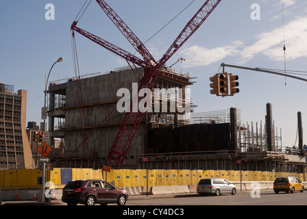 Bau die Nummer 7 u-Bahn Line Extension auf 11th Avenue und West 34th Street in Midtown Manhattan in New York - Stockfoto