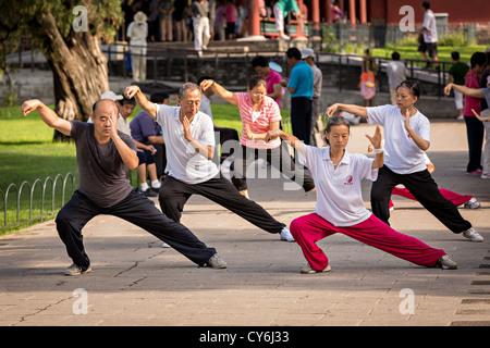 Chinesen Praxis Tai Chi Kampfkunst trainieren Sie am frühen Morgen im Tempel des Himmels Park im Sommer in Peking - Stockfoto