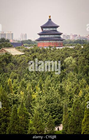 Luftaufnahme des Hall of Prayer für gute Ernten, bekannt als der Tempel des Himmels im Sommer in Peking, China - Stockfoto