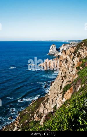 Cabo da Roca, Portugal, Europa: eine felsige Formation ist der westlichste Punkt des Festlands - Stockfoto