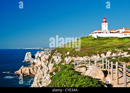 Cabo da Roca (Cape Roca), einem Kap bildet am westlichen Punkt des portugiesischen Festland und dem europäischen - Stockfoto