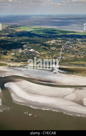 Den Niederlanden, Insel Schiermonnikoog, Zugehörigkeit, Wadden Sea Islands. UNESCO-Weltkulturerbe. Luft. - Stockfoto
