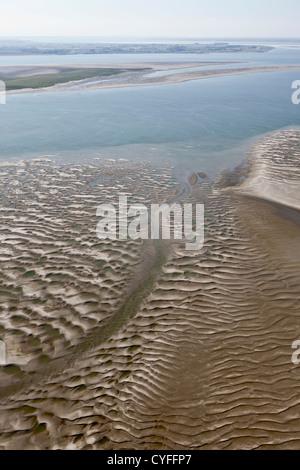 Den Niederlanden, Nieuw Namen Westerschelde Fluss. Gezeiten Sandbank. Luft. - Stockfoto