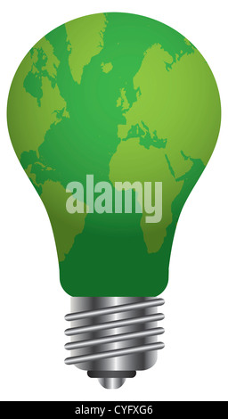 Glühbirne mit Weltkarte gehen Grün Illustration, Isolated on White Background