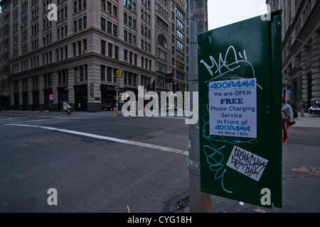 New York USA. 1. November 2012. Blick nach Süden auf der 5th Avenue und 18th Street im Stadtteil Chelsea von New - Stockfoto