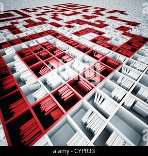 QR-Code in Matrix der Bücherregale (illustrierte Konzept) - Stockfoto