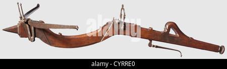 Ein italienischer Steinbogen, um 1650 schlanker, leicht gebogener Stahlprod, innen geriffelt und verkeilt (die Schnur - Stockfoto