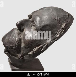 Friedrich Nietzsche (1844-1900), einer Totenmaske des Philosophen und Dichter Bronze mit dunkelbraune Patina, die - Stockfoto