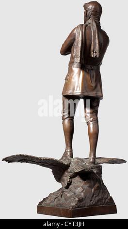 Eine Bronze Figur, von einem Jagdflieger des 3. Flug Ausih Bronze mit dunkle Patina, der Rückseite der Basisstation - Stockfoto