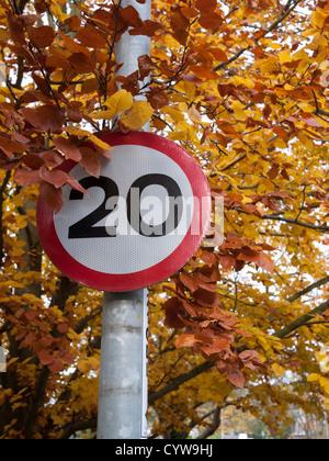 20 km/h Höchstgeschwindigkeit Zeichen in Cambridge UK gegen Herbstlaub - Stockfoto