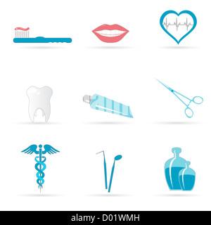 Abbildung der zahnärztlichen Symbole auf weißem Hintergrund - Stockfoto