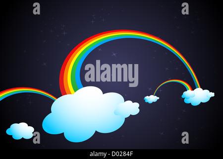 sch nen regenbogen auf wolken mit stern in der nacht vector illustration farbton hintergrund. Black Bedroom Furniture Sets. Home Design Ideas