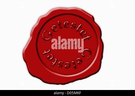 Detailansicht Eines Roten Siegel Mit der Aufschrift Getestet | Detail-Foto einer roten Dichtung mit der deutschen - Stockfoto