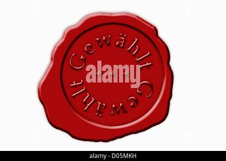 Detailansicht Eines Roten Siegel Mit der Aufschrift Gewählt | Detail-Foto einer roten Dichtung mit der deutschen - Stockfoto