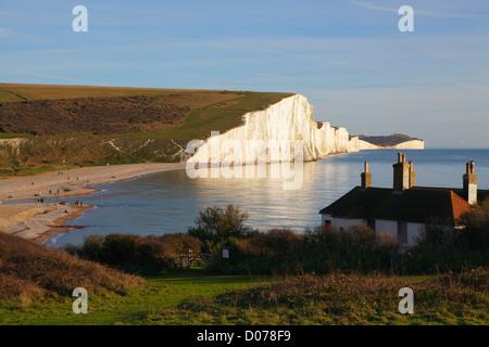 Sieben Schwestern Klippen, South Downs National Country Park und die Küste von Seaford Head East Sussex England - Stockfoto