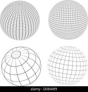 Verschiedene Ausführungen von Wireframe-Globen - Stockfoto