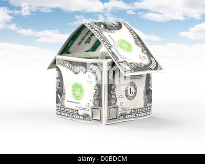Hausgemachte Geld, tausend US-Dollar-Scheine stehen unter blauem Himmel isoliert auf weißem Hintergrund Immobilien, - Stockfoto
