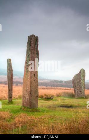 Ein Steinkreis in Machrie Moor auf der Isle of Arran. - Stockfoto