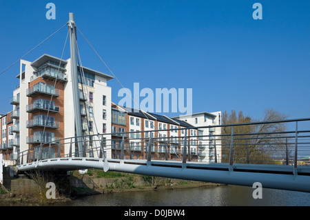 Die Fuß- und Brücke über den Fluss Foss in York. - Stockfoto