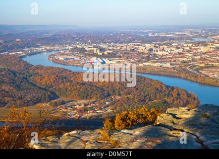 Ansicht von Chattanooga, Tennessee von Lookout Mountain - Stockfoto
