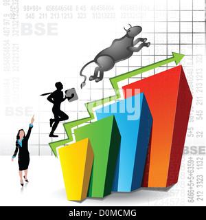 Anschauliche Darstellung zeigt Anstieg der Börse - Stockfoto