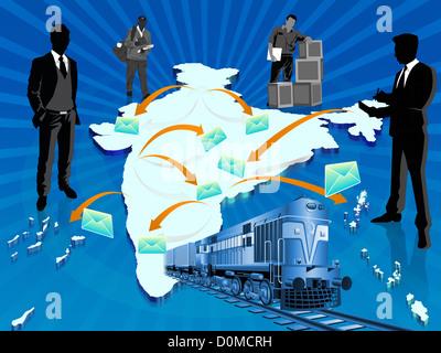 Anschauliche Darstellung zeigt Eisenbahn-Mail-Dienst, Indien - Stockfoto