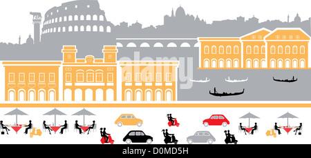 Montage-Sehenswürdigkeiten in der Stadt, Rom, Italien - Stockfoto