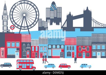 Montage der Wahrzeichen in einer Stadt, London, England - Stockfoto