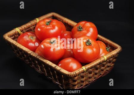 Korb mit nur intakte Tomaten - Stockfoto