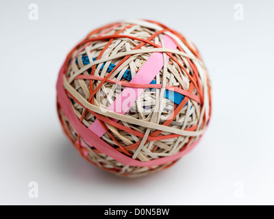 Gummiband-Ball, Kugel, bestehend aus Gummibänder übereinander gewickelt