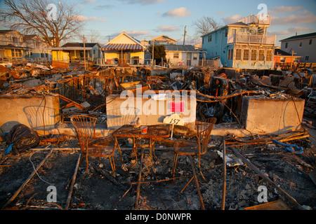 Breezy Point Queens Sandy Sturm Zerstörung - Stockfoto