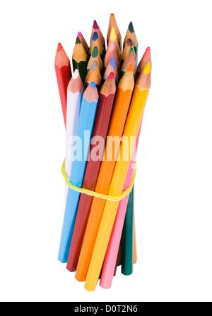 Bündel Buntstifte mit einem elastischen Band gebunden - Stockfoto