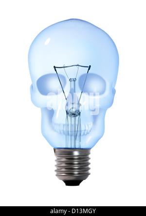 Schädel-Wolfram-Glühbirne Lampe auf weißem Hintergrund - Stockfoto