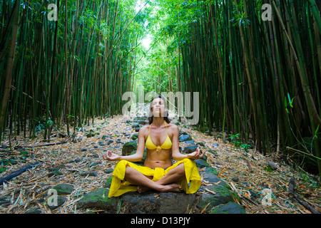 Hawaii, Maui, Kipahulu, Frau, meditieren im Bambuswald. - Stockfoto