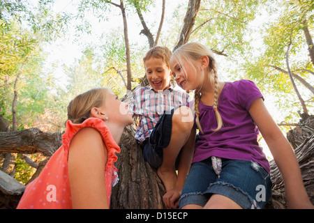 USA, Utah, Lehi, drei Kinder (4-5, 6 und 7) zusammen zu spielen im Baum - Stockfoto