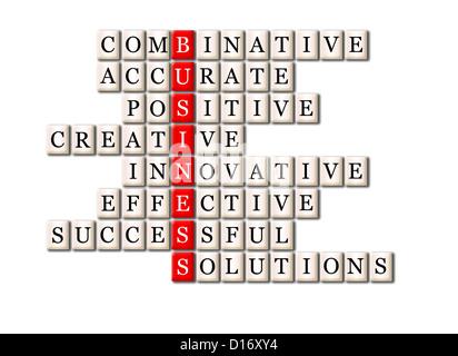 Akronym-Konzept des Business-kombinatorische, präzise, positiv, kreativ, innovativ, effektiv, Cuccessful, Lösungen - Stockfoto