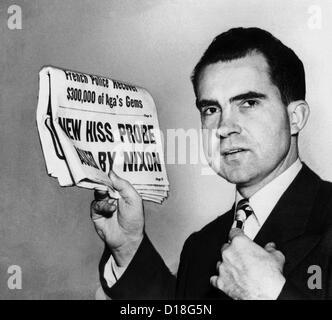 Senator Richard Nixon fordert Fortsetzung des HUAC Alger Hiss Untersuchung. 27. Januar 1950 Schlagzeile lautet: - Stockfoto