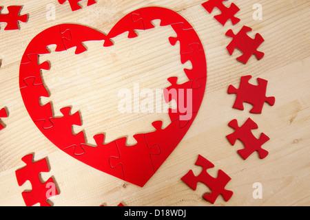 Jigsaw Puzzle in Herzform - Stockfoto