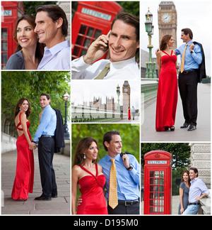 Montage von Mann und Frau romantisch zu zweit im Urlaub die Sehenswürdigkeiten und Sehenswürdigkeiten in London, - Stockfoto