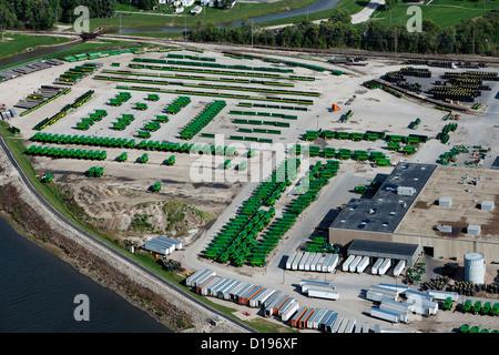 Luftaufnahme John Deere Harvester Works Fabrik, East Moline, Illinois - Stockfoto