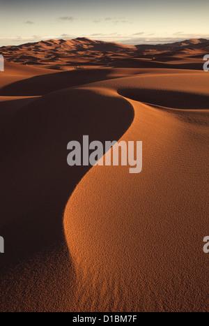Erg Chebbi Sanddünen entfernt am Rande der Sahara Wüste in Marokko Nordafrika im Morgengrauen Anfang März - Stockfoto