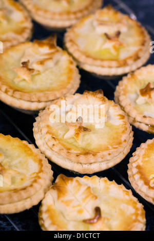 Frisch zubereitete Mince Pies auf eine Kühlung Fach. - Stockfoto