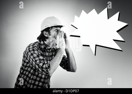 Bauarbeiter schwarz weiß  Wütend schreit Vorarbeiter Stockfoto, Bild: 41338933 - Alamy